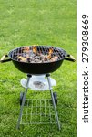 empty grill with fire flames... | Shutterstock . vector #279308669