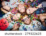 cheerful friends lying on the... | Shutterstock . vector #279322625