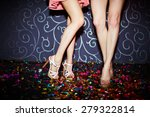 Stock photo legs of two girls dancing in night club 279322814