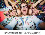 cheerful friends lying on the... | Shutterstock . vector #279322844