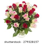 Stock photo beautiful fresh red and pink roses in a vase isolated on white background 279328157
