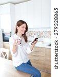 young beautiful woman using... | Shutterstock . vector #279328865