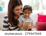 indian mother and child playing ... | Shutterstock . vector #279347045
