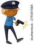 closeup policeman shooting with ...   Shutterstock .eps vector #279347084