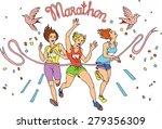 Group of womem Marathon Runners,colors vector - stock vector