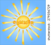 summer  sun with rays on blue... | Shutterstock .eps vector #279356729