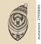 bear hipster in knitted hat... | Shutterstock .eps vector #279358481