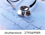 cardiogram with stethoscope on