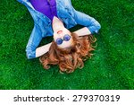 beautiful redhead women lying... | Shutterstock . vector #279370319