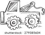 doodle sketch truck vector... | Shutterstock .eps vector #279385604