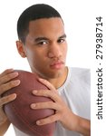 Young African American College Student Holding Football Isolated - stock photo