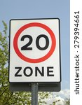 uk road sign with a 20 mph zone ...   Shutterstock . vector #279394661