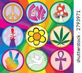 Nine 60s Icons On A Rainbow...