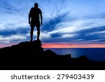 man hiking silhouette... | Shutterstock . vector #279403439