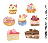 watercolor set of sweet cakes... | Shutterstock .eps vector #279409394