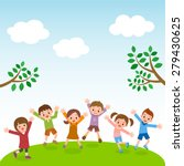 group of kids jumping on grass... | Shutterstock .eps vector #279430625