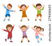 set of children laughing jump | Shutterstock .eps vector #279430655