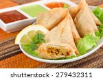 plate of vegetable samosa with... | Shutterstock . vector #279432311