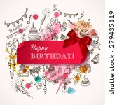 Happy Birthday Card With Doodl...