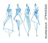 fashion models hand drawn... | Shutterstock .eps vector #279445364