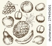 set of hand drawn fruit.... | Shutterstock .eps vector #279454301