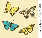 hand drawn vintage butterflies | Shutterstock .eps vector #279467981