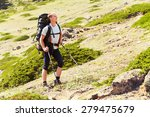 trail in the mountains. a hiker ... | Shutterstock . vector #279475679