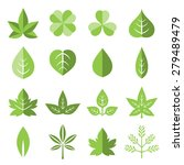 Vector Leaves Icon Set In Flat...