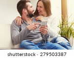 young adult couple listening to ... | Shutterstock . vector #279503387