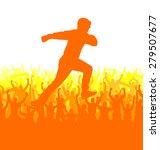 silhouette of a running man.... | Shutterstock .eps vector #279507677