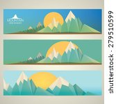 low poly mountains web banners | Shutterstock .eps vector #279510599