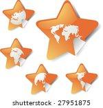world map icons on star sticker ... | Shutterstock .eps vector #27951875
