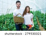 farmers with a basket full... | Shutterstock . vector #279530321