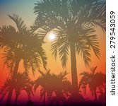 summer day background with palm ... | Shutterstock .eps vector #279543059