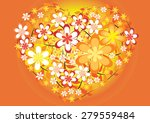 vector heart shape with flower | Shutterstock .eps vector #279559484