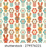 seamless rabbits and flowers... | Shutterstock .eps vector #279576221