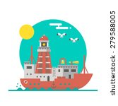 flat design of lightship... | Shutterstock .eps vector #279588005