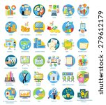 set of busines round icons in... | Shutterstock .eps vector #279612179