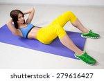 happy cutie athletic girl   ... | Shutterstock . vector #279616427
