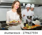 beautiful female waiter taking... | Shutterstock . vector #279627554