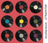 vinyl records with colorful... | Shutterstock .eps vector #279694709