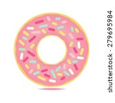 sweet  donut card with pink... | Shutterstock .eps vector #279695984