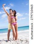 happy couple taking selfie at... | Shutterstock . vector #279710465