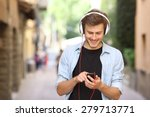 happy guy walking and using a... | Shutterstock . vector #279713771