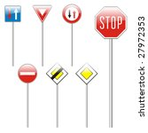 isolated european road signs   Shutterstock .eps vector #27972353