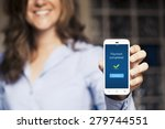 payment completed message on a... | Shutterstock . vector #279744551