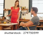 Couple In Kitchen At Breakfast...