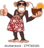 Stock vector vector illustration chimpanzee holding a cocktail and smiling 279760181