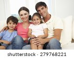 family relaxing on sofa at home ... | Shutterstock . vector #279768221
