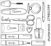 set cosmetics line drawn. cream ...